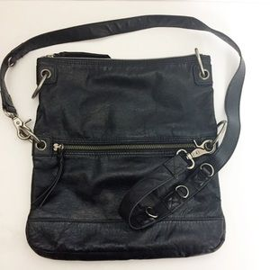 The Sak Black Leather Adjustable Crossbody